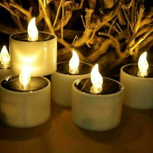 6/12X Solar Powered LED Candles Flameless Electronic Waterproof Tea Lights Lamp
