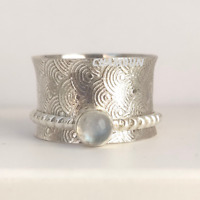 Moonstone 925 Sterling Silver Spinner Statement Meditation Ring Size - 9   A68