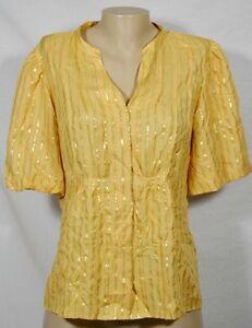 NINE WEST Gold Stripe Crinkle-Look Silk/Metallic Blend Blouse 8 Short Sleeves