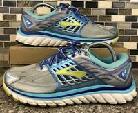 Brooks Glycerin 14 Women's Size 9.5 B Running Shoes Sneakers Silver Blue Yellow