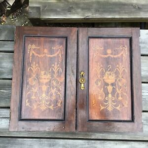 """Antique Victorian Mahogany Inlaid Alcove Cupboard Doors 21.75"""" x 26.5"""" In Total"""