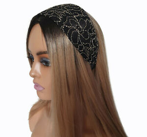 Gorgeous 8cm EXTRA WIDE black & cream patterned headband - aliceband