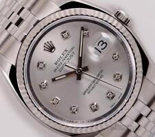 Rolex Datejust 116234 S/Steel Jubilee-18k Gold Fluted Bezel-Silver Diamond Dial