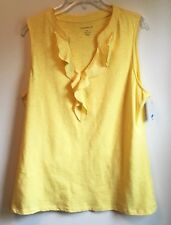 Charter Club Sleeveless Top Tank Sun Yellow V-Neck Ruffle Front Stretch XL