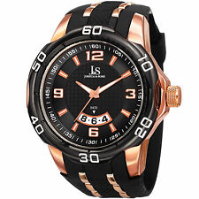 Men's Joshua & Sons JX110BKR Quartz Movement Date Polyurethane Strap Watch