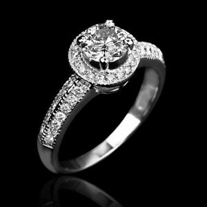CERTIFIED 1.6 CT SOLITAIRE W ACCENTS ROUND DIAMOND 18K WHITE GOLD BETROTHAL RING