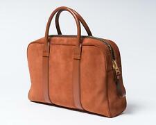 Tom Ford NWT Tobacco Brown Orange Suede Leather Buckley Briefcase