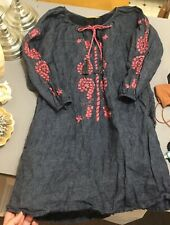 ROBERTA ROLLER RABBIT XS Linen Camilla Dress $245 Charcoal Embroidery Pockets