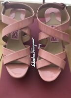 """Ferragamo Persy Blush Pink Patent Leather 4"""" Wedge Shoes Size 5 1/2 B Italy"""