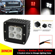 3inch Red + White Dual Color LED Work Light Flood Spot Cube Pods Fog Head Lamps