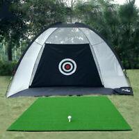 Foldable Net Golf Cage Practice Hitting Training Aid Mat Indoor Outdoor Garden