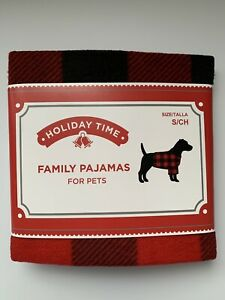NEW HOLIDAY TIME FAMILY PAJAMAS FOR PETS RED/BLACK (S)