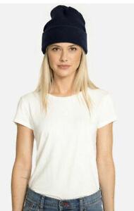 $98 Johnny Was LA JWLA Navy Blue Cashmere Folded Beanie Hat O/S