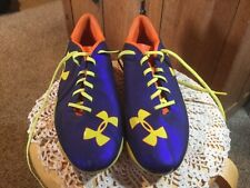 Pre Owned UnderArmour Blur Soccer Cleats. Mens 11. Blue, Orange, Yellow.