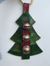Antique Brass Horse Sleigh Bells Alert Door Hanger Christmas Tree Leather Strap