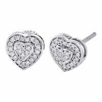 10K White Gold Round Cut Diamond Ladies 8.25mm Heart Stud Pave Earrings 0.30 Ct.