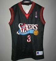 PHILADELPHIA 76ERS NBA BASKETBALL SHIRT JERSEY #3 IVERSON CHAMPION BLACK