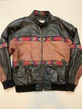 Vintage Mens Adler Western Cowboy Leather Bomber Jacket Size L