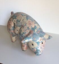 Global Studios Ceramic Floral Large Pig Hog Pottery Multicoloured Cornwall VGC