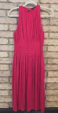 BANANA REPUBLIC SZ 2 Pink Red Silk Blend Dress Pleats Semi-Halter Style PARTY