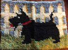 "Handmade Black Scotty Scottie Dog Rug / Wall Pc. Unfinished Edges 23"" X 17 1/2"""