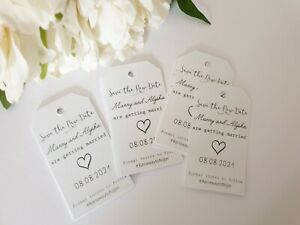 Save The Date Tags Wedding Engagement Birthday Personalised 12/ 27/ 45pcs