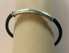 """SILPADA Sterling Silver Bracelet Hammered Black Leather Tube 8.5"""" 7g 925 #1155"""