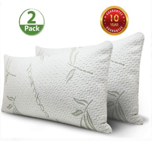 Comfort Cool Bamboo Shredded Memory Foam Pillows Hypoallergenic Size K or Q 2 PC
