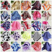 Bandanna Silk Satin Feel 50cm Small Square Head Neck Scarf Vintage Elegant