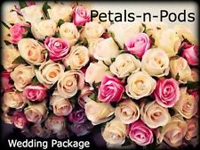 IVORY AND PINK ROSES PACKAGE 9 PIECES WEDDING  BOUQUET WITH DIAMONDS SILK FLOWER
