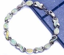 """LOVE! INFINTIY WHITE AUSTRALIAN FIRE OPAL .925 Sterling Silver Bracelet 7"""""""