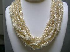 Multi strands irregular flat thin Pearl designer necklace silver clasp 17+2 inch