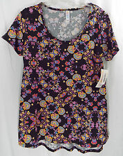 Womens LuLaRoe Classic T XS Shirt Black  Multi Colored Floral NWT