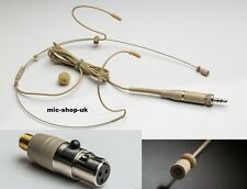 Dual Hook Headset Microphone For AKG/Samson Wireless Packs 3 Pin Mini XLR (TA3)