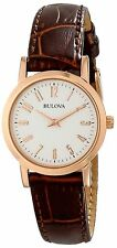 BULOVA Womens Classic Watch Brown Leather & Rose Gold-tone 97L121 $200 Display