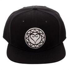 DISNEY KINGDOM HEARTS EMBROIDERED WHITE LOGO BLACK SNAPBACK HAT CAP FLAT  BILL 703b9bd5fb90