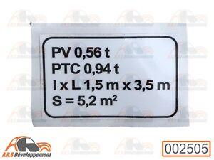 Plaque de tare pour Citroen mehari ( pas 2cv) - 002505 -
