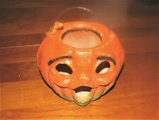 1950s German orange Halloween Jack O'Lantern papier mache decorative pumpkin