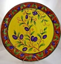 "Black Olive Branch Large Round Platter 13.5"" Yellow Purple Brown Wavy Edge"