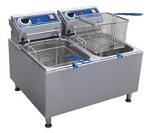 GLOBE 32LB STAINLESS STEEL ELECTRIC COUNTER-TOP FRYER - DUAL TANK - PF32E