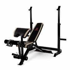 Marcy Two piece Olympic Bench & Squat Rack | MD-879 w/ Preacher Curl Pad Leg Ext