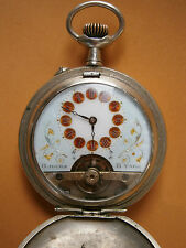 ANTIQUE OLD POCKET WATCH ENAMEL DIAL 8 days HEBDOMAS 2 COVERS SWISS - WORKING!!!