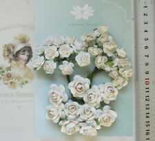 WHITE - ROSE MIX 3 Sizes - 32 Flowers - PAPER 18-25mm GT Draw A