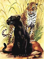 PAINTING ANIMAL LEOPARD BLACK SPOTTED CAT JUNGLE ART POSTER PRINT LV2313