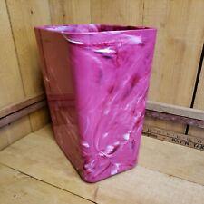 Vintage 70s Hot Pink Marbleized Plastic Trash Can Garbage Waste Paper Basket 11