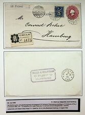 CHILE 1894 5c UPRATED ON REGD COVER FROM VALPARAISO TO GERMANY