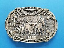 "Vintage 1987 ""North to Market"" 1887 Last Cattle Drive Belt Buckle Ltd Ed 659 ADM"