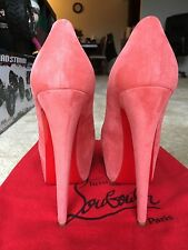 Louboutin Authentic Daffodil 160 Cameo Rose Suede Platform Pumps Size 8.5