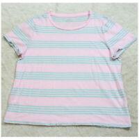 XL Short Sleeve J. Crew Pink & Blue Striped Crewneck Tee T-Shirt Top Woman's