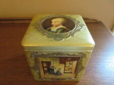 VTG Gold Square Tin Featuring Famous Paintings Hinged Lid Made in Holland EUC